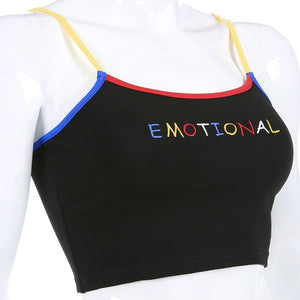 'Emotional' cropped tank top