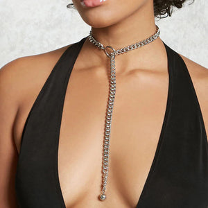 Punk style silver chunky chain necklace