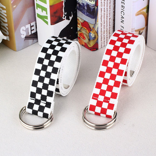 D ring checkered belt- red & black