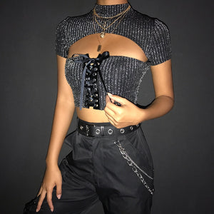 'Night time, my time' sparkly crop top