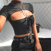 Load image into Gallery viewer, 'Night time, my time' sparkly crop top