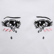 Load image into Gallery viewer, 'Won't cry for you' embroidered crop top