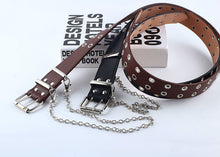 Load image into Gallery viewer, Eyelet faux leather belt with attached chain - single and double eyelet