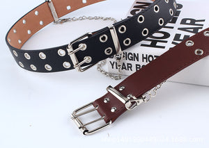 Eyelet faux leather belt with attached chain - single and double eyelet