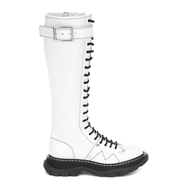 Ada White Lace Up Boots