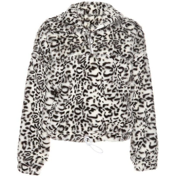 Animal Pattern Faux Fur Top