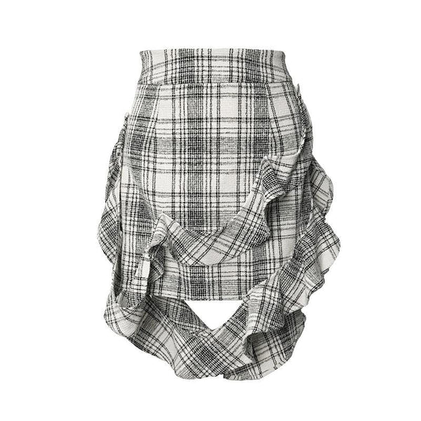Asymmetric Checked Skirt