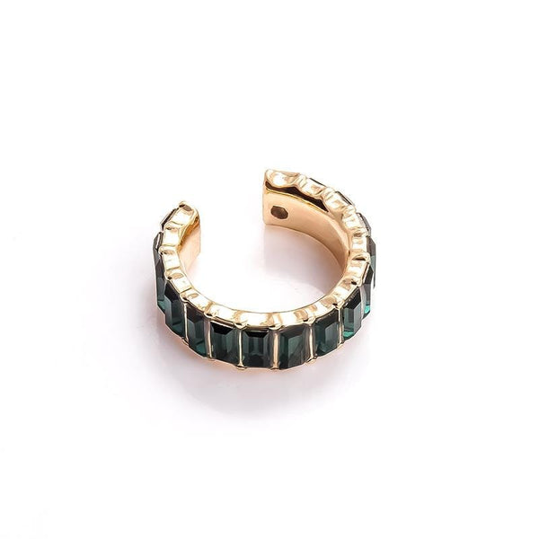 Auta Gold Tone Deep Green Earring Cuff