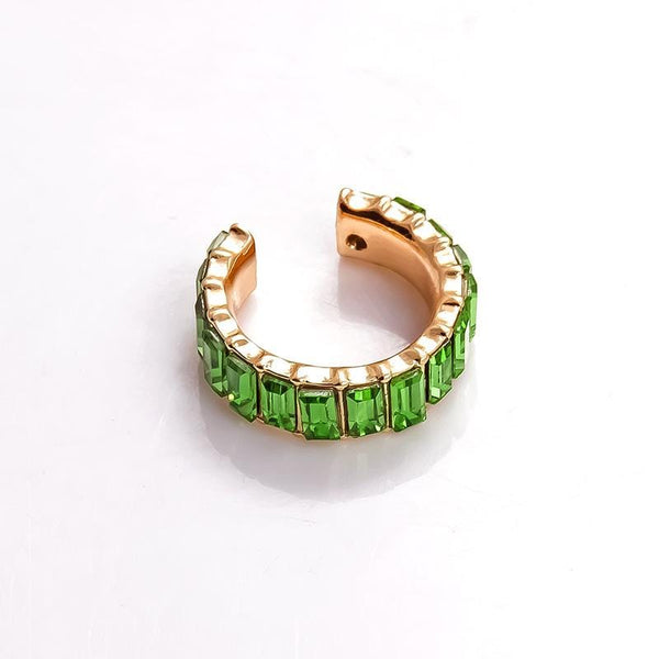 Auta Gold Tone Green Earring Cuff