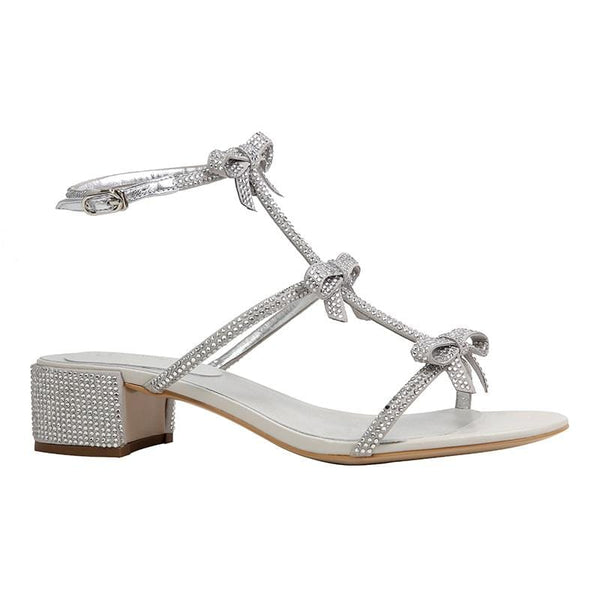 Bow Silver Sandals
