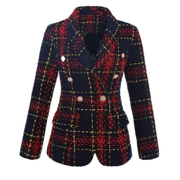 Checked Tweed Blazer Jacket