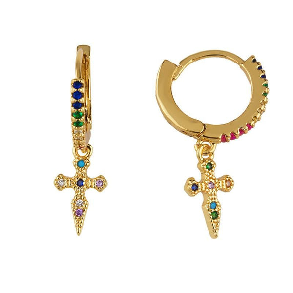 Color Cross Earrings
