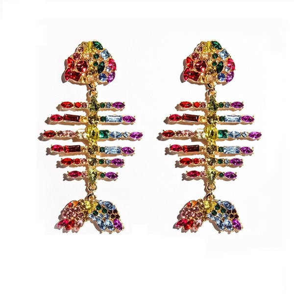 Color Crystal Fish Earrings