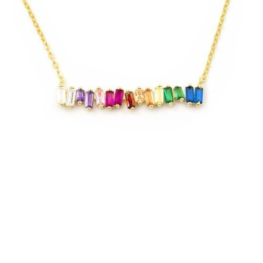 Color Crystal Gold Tone Necklace
