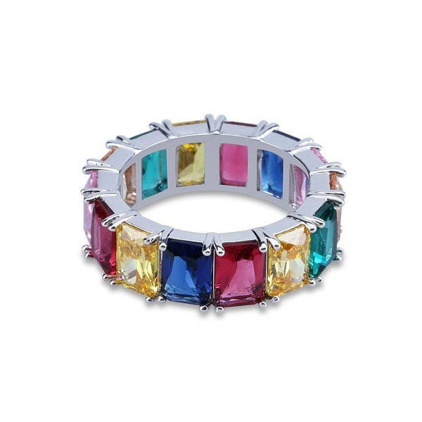Color Crystal Silver Tone Ring