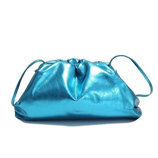 Diana Metallic Blue Clutch Bag