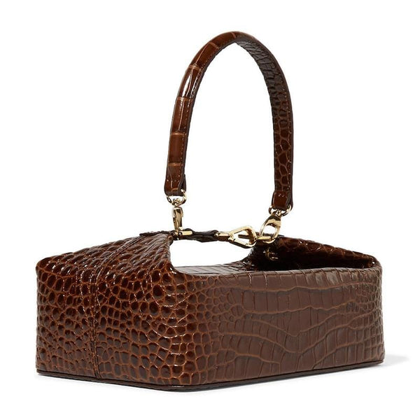 Faux Croc Effect Brown Leather Bag