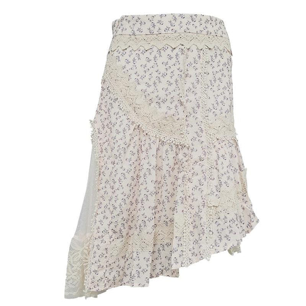 Floral Print with Lace Skirt