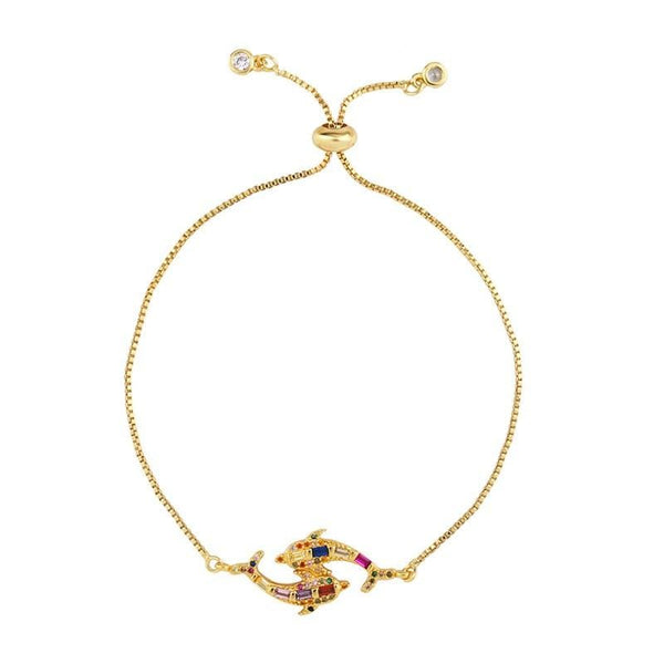 Gold Tone  Double Fish Bracelet