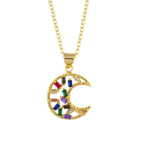 Gold Tone Moon Necklace