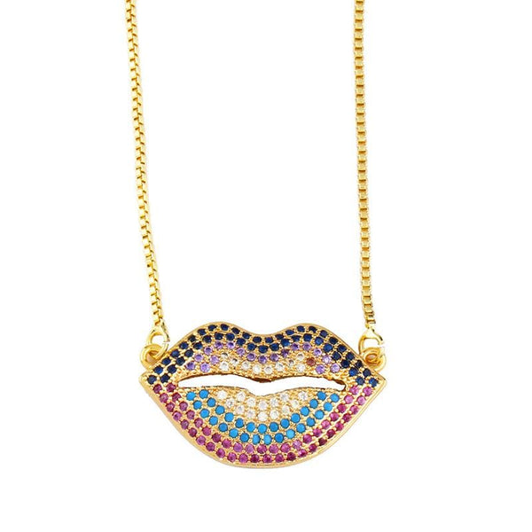 Gold Tone Mouth Necklace