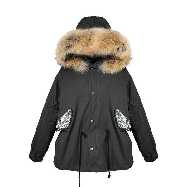 Gracie Embellished Black Parka