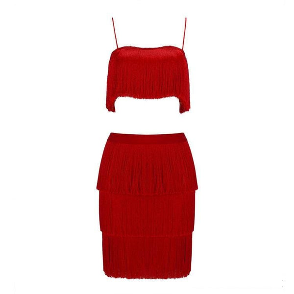 Jasmin Red Tassel Dress Set