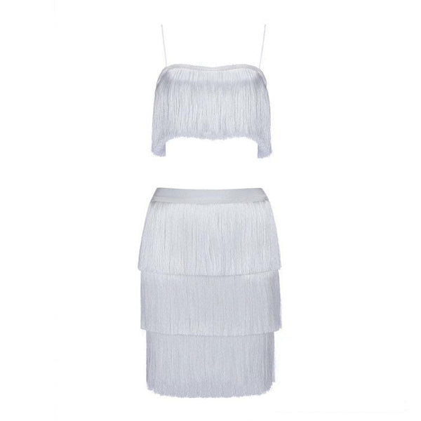 Jasmin White Tassel Dress Set