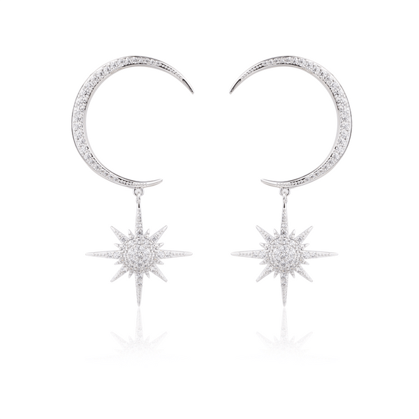 Moon Silver Tone Earrings