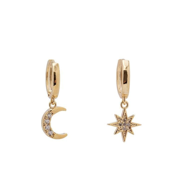 Moon and Star Gold Tone Earrings