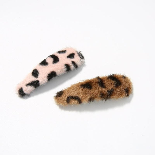Pack Of 2 Hair Clips In Pink Leopard Print