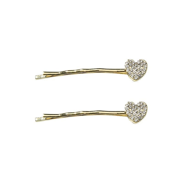 Pack Of 2 Hair Clips In Heart Crystal