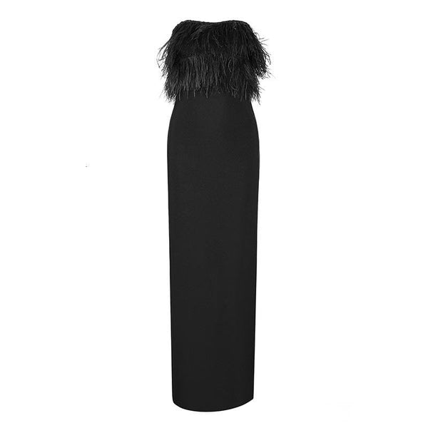 Off Shoulder Feather Black Dress