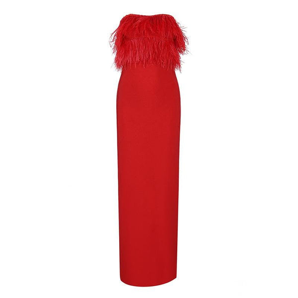 Off Shoulder Feather Red Dress