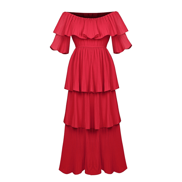 Off Shoulder Red Layer Dress