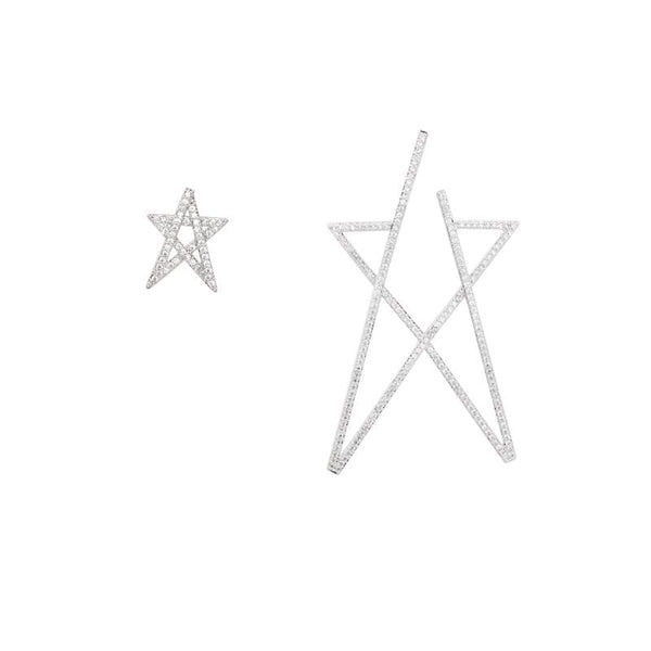 Star Pattern Silver Tone Earrings