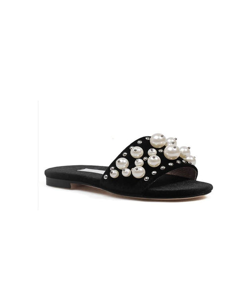 Studded and Pearls Black Slippers
