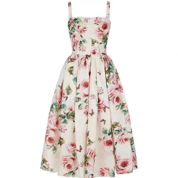 Rose and Butterfly Printed Dress