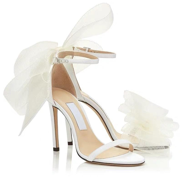 Tulle Bow White High Heels