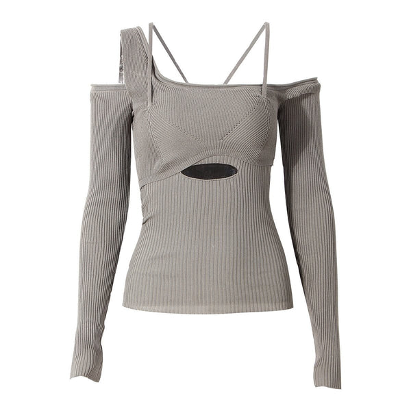 Nada Cutout Grey Top