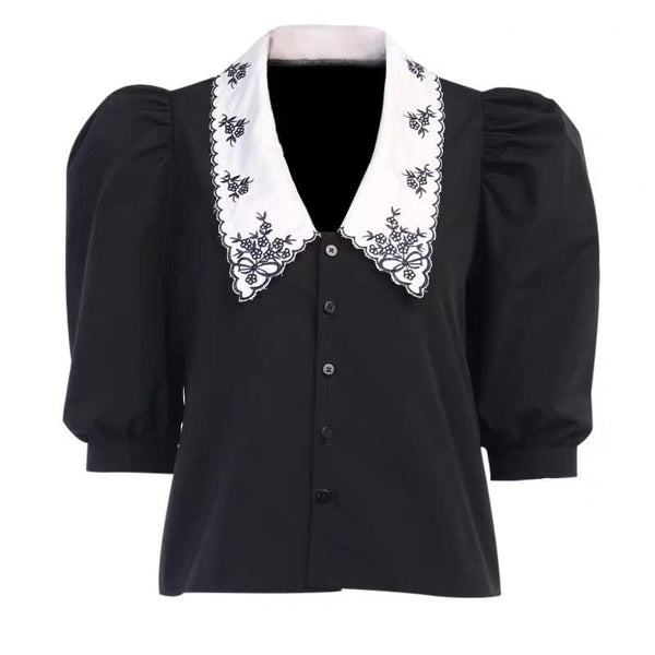 Kohl Black Embroidered Top