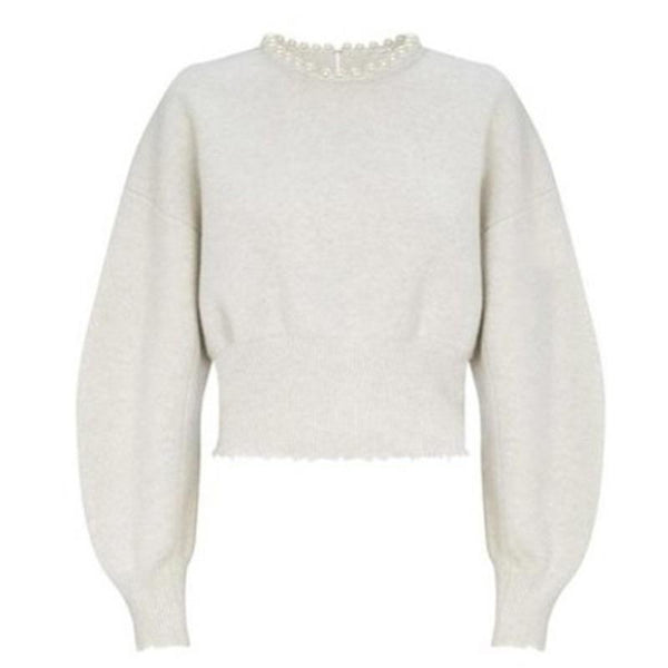 Faux Pearl Off White Sweater