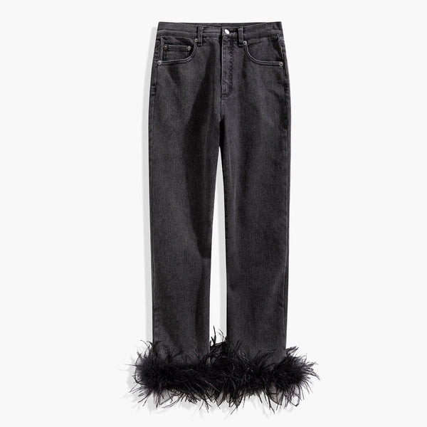 Feather Details Jeans