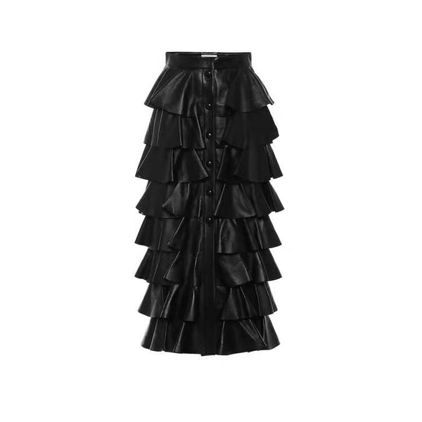 Faux Leather Layer Skirt