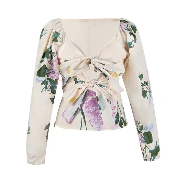 Romy Floral Printed with Bow Top