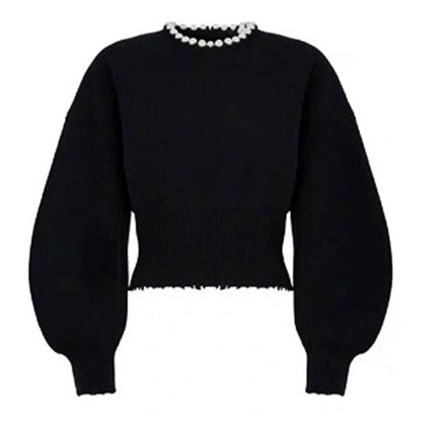 Faux Pearl Black Sweater