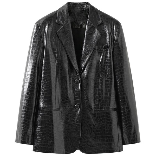 Faux Leather Blazer Jacket