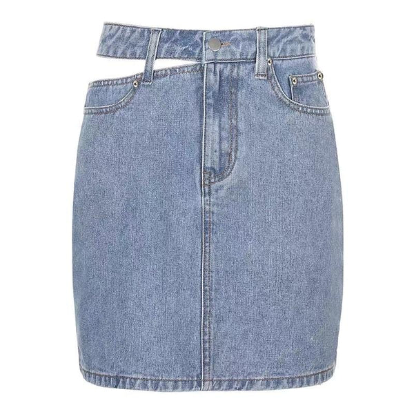Cutout Denim Skirt
