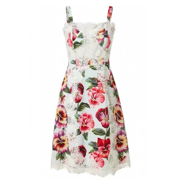 Floral Printed with Lace Dress