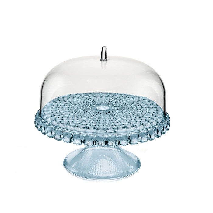 Guzzini Tiffany Small Cake Stand With Dome Sea Blue